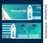 travel. cruise to paradise.... | Shutterstock .eps vector #593698760
