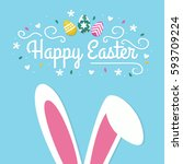 happy easter typographical... | Shutterstock .eps vector #593709224