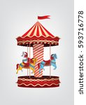realistic vintage carousel with ... | Shutterstock .eps vector #593716778