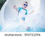 child excited and having fun... | Shutterstock . vector #593721596