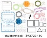 blank postal stamps and foliage ... | Shutterstock .eps vector #593723450