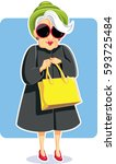 senior fashion lady holding... | Shutterstock .eps vector #593725484