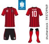 set of soccer kit or football... | Shutterstock .eps vector #593729969