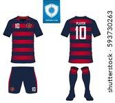 set of soccer kit or football... | Shutterstock .eps vector #593730263
