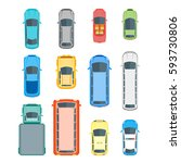 different cars top view... | Shutterstock . vector #593730806
