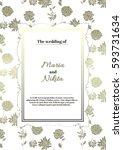 vintage wedding invitation... | Shutterstock .eps vector #593731634