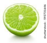 ripe half of green lime citrus... | Shutterstock . vector #593731646