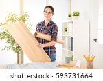 clever asian female engineer... | Shutterstock . vector #593731664