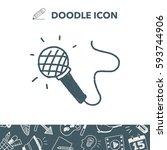 doodle microphone | Shutterstock .eps vector #593744906