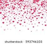 hearts confetti on white... | Shutterstock . vector #593746103