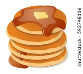 fresh tasty hot pancakes with... | Shutterstock .eps vector #593748116