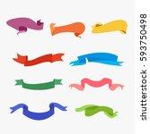 banners vector set color blank... | Shutterstock .eps vector #593750498