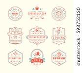 spring typographic badges... | Shutterstock .eps vector #593752130