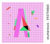 vector letter a memphis style... | Shutterstock .eps vector #593754860