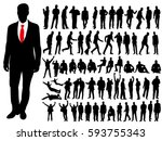 collection of silhouettes of men | Shutterstock .eps vector #593755343