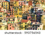italy riviera at colorful... | Shutterstock . vector #593756543
