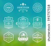 spring typographic badges... | Shutterstock .eps vector #593757518