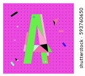 vector letter a memphis style... | Shutterstock .eps vector #593760650