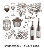 wine set isolated on white... | Shutterstock .eps vector #593761856