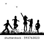 silhouette of group of kids... | Shutterstock . vector #593763023