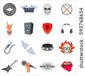 rock music icons set. cartoon... | Shutterstock . vector #593768654