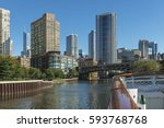 Small photo of Chicago Riverfront Architecture As Seen From The North Branch Of The Chicago River Due South.
