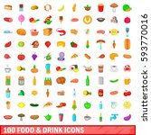 100 food and drink icons set in ... | Shutterstock . vector #593770016