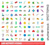 100 activity icons set in... | Shutterstock . vector #593770943