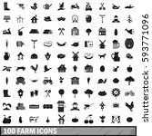 100 farm icons set in simple... | Shutterstock .eps vector #593771096