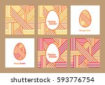 happy easter. set of greeting... | Shutterstock .eps vector #593776754
