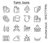farm icon set in thin line style | Shutterstock .eps vector #593777990
