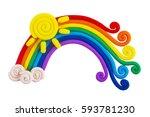 plasticine rainbow isolated on... | Shutterstock . vector #593781230