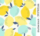 seamless pattern with citrus... | Shutterstock .eps vector #593785166