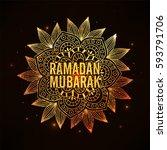 golden text ramadan mubarak on... | Shutterstock .eps vector #593791706