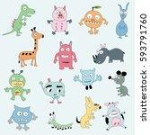 cartoon character vector... | Shutterstock .eps vector #593791760