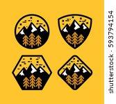 mountain badge set in circular  ... | Shutterstock .eps vector #593794154