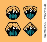 mountain badge set in circular  ... | Shutterstock .eps vector #593794160
