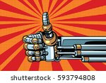 robot thumb up gesture like.... | Shutterstock .eps vector #593794808