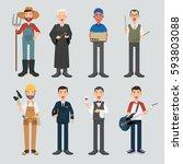 set of diverse occupation... | Shutterstock .eps vector #593803088