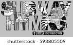 new york hand drawn artwork... | Shutterstock .eps vector #593805509