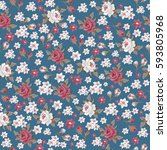 seamless vintage floral pattern ... | Shutterstock .eps vector #593805968