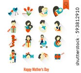 happy mothers day simple flat... | Shutterstock .eps vector #593812910
