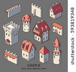 castle collection. set of...   Shutterstock .eps vector #593819348