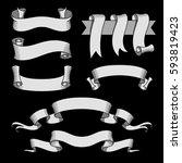 vector ribbon set. celebration... | Shutterstock .eps vector #593819423