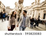 casual young couple holding... | Shutterstock . vector #593820083