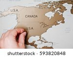 scratch travel map of the world.... | Shutterstock . vector #593820848