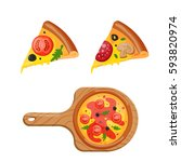 hot fresh pizza icon vector... | Shutterstock .eps vector #593820974