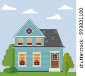 detailed colorful flat house.... | Shutterstock .eps vector #593821100