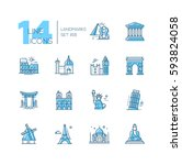 landmarks   coloured vector... | Shutterstock .eps vector #593824058