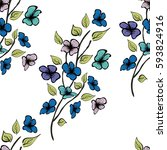 flower seamless pattern.... | Shutterstock . vector #593824916